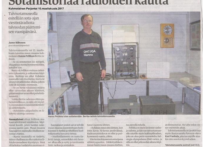 Talvisotamuseojuttu Kuhmolainen paikallislehdessä.jpg