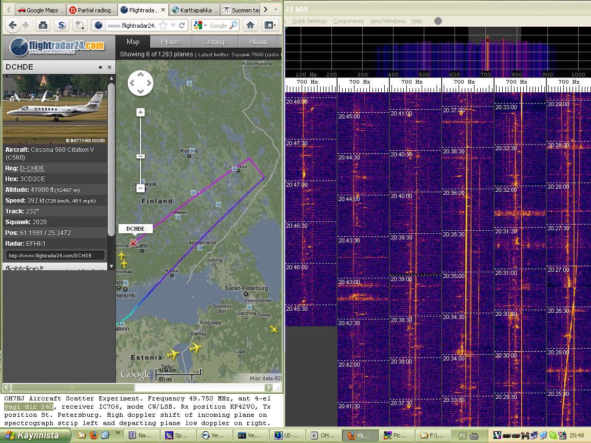 2012-01-18 49750-15 Doppler traces of small Cessna Citation business jet still appear near Lahti (c) OH7HJ.jpg