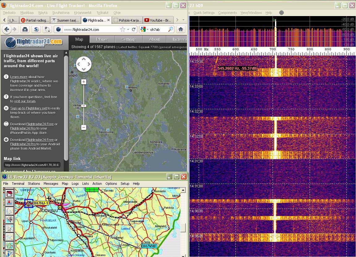 Radar01 Trace of unknown aircraft on 550 Hz left - aerial dir NE - (c) OH7HJ.jpg