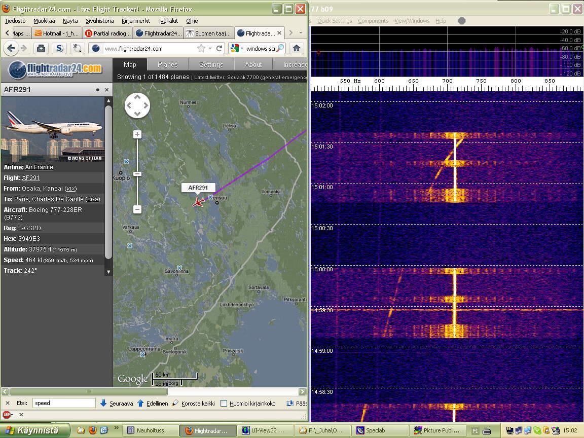 Dopp07 AFR291 crossing over - Doppler scale 500 - 900 Hz (c) OH7HJ.jpg