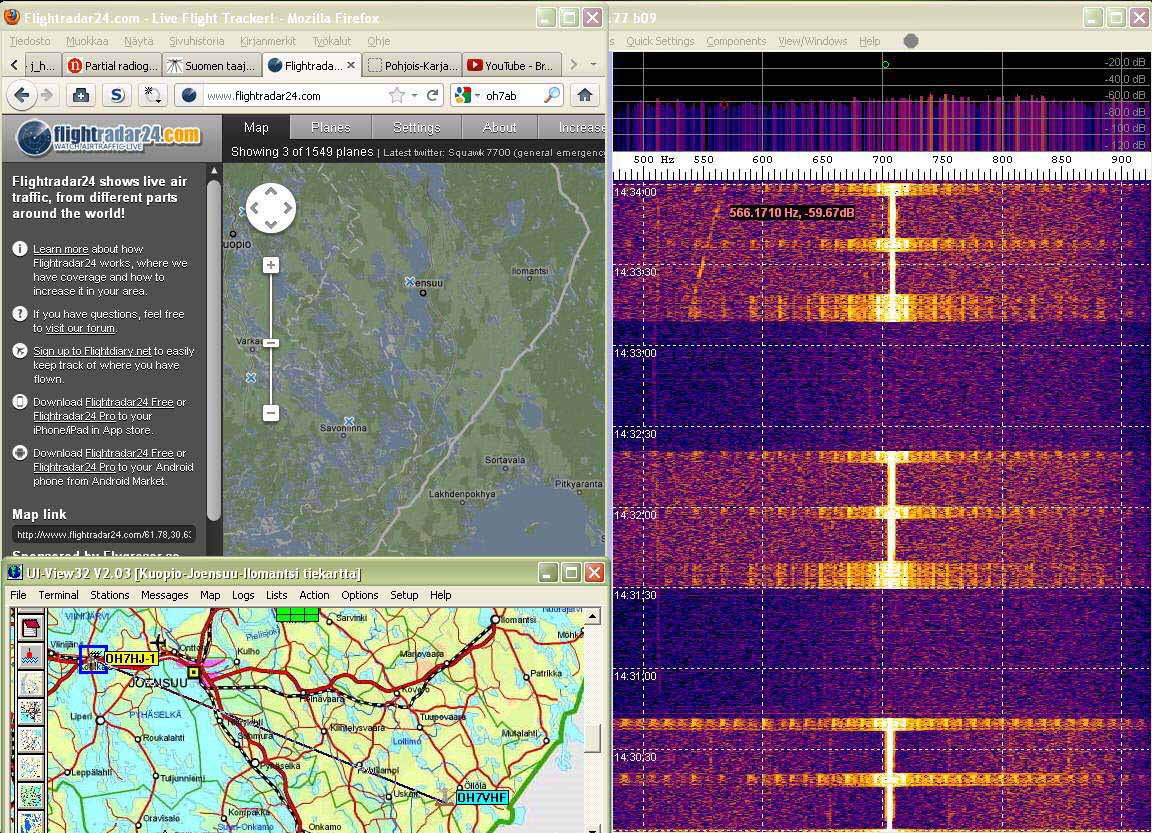 Radar02 Unknown aircraft echo trace now on 520 Hz left - (c) OH7HJ.jpg