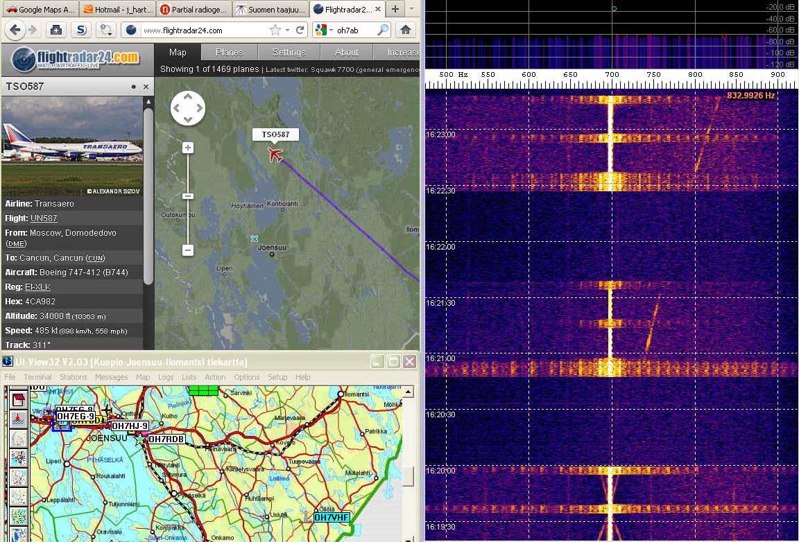 Radar24 Departing plane echo still visible - Plane not crossing Tx-Rx line - (c) OH7HJ.jpg