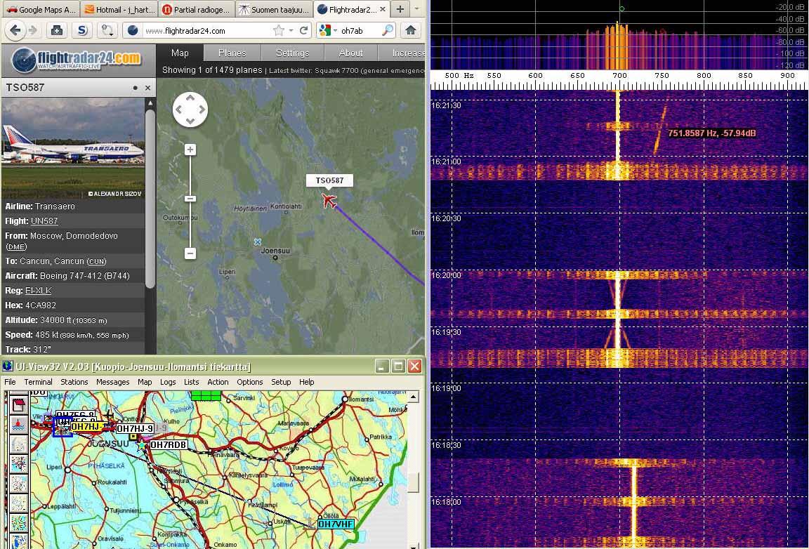 Radar23 Doppler echo shift of plane departing parallel to Rx-Tx line appears slower - (c) OH7HJ.jpg