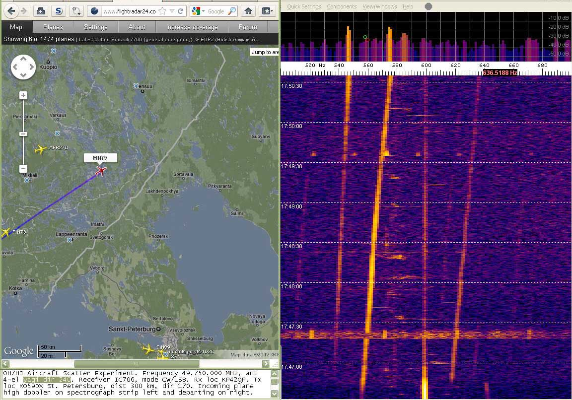 2012-02-05 49750-16 Turned aerial SW to see departing Fincomm doppler at right - At left approaching FIN79 and AFR276 traces (c) OH7HJ.jpg