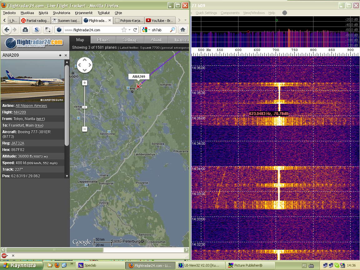 Radar03 Aircraft now within ADS-B range and recognized as ANA209 - (c) OH7HJ.jpg