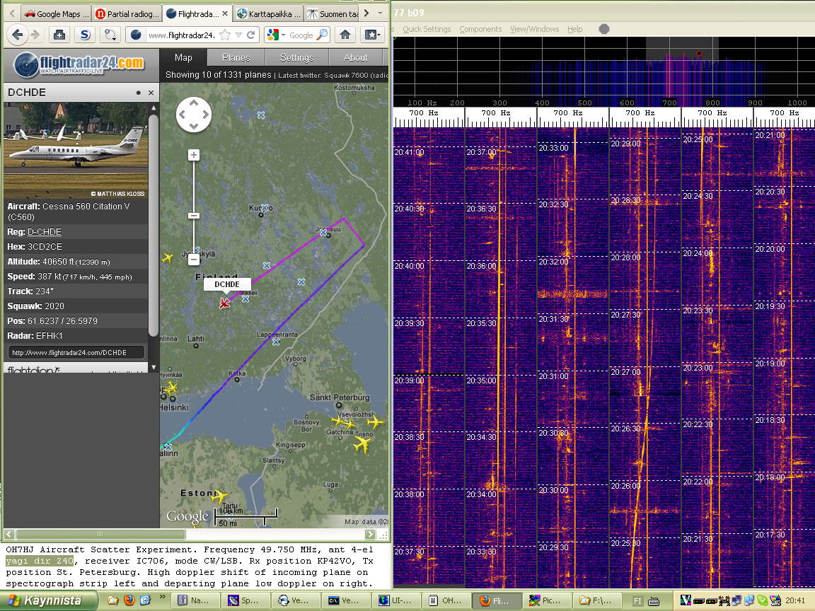 2012-01-18 49750-14 Doppler of small Cessna Citation business jet strong to 2036 and faint 2041 between Mikkeli and Heinola (c) OH7HJ.jpg