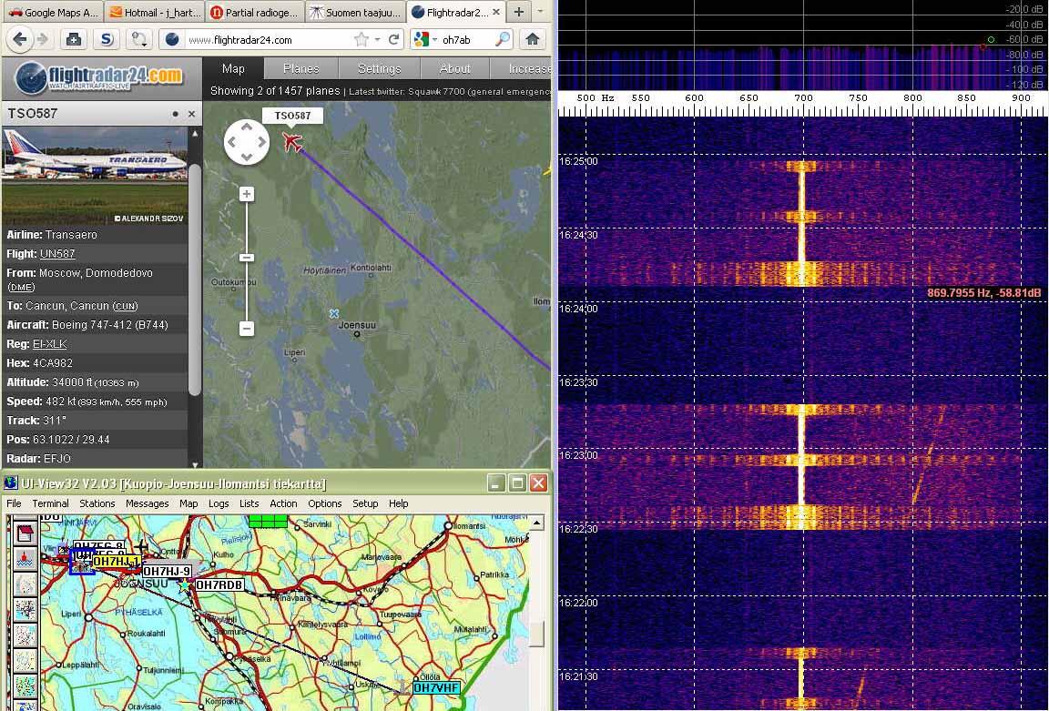 Radar25 Last doppler echo of departing plane flying NW out of my range - Thank you! - (c) OH7HJ.jpg